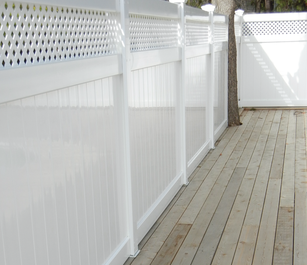white privacy fence polished and shining